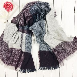 Oversized Plaid Frayed Edge Blanket Scarf